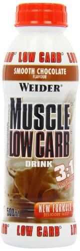 Weider, Muscle Low Carb Drink, Schokolade, 1er Pack (6x 500ml)