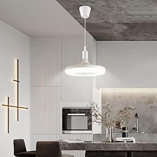 WRQING Schlafzimmer Deckenventilator mit Beleuchtung, Moderne Deckenventilator mit Licht, E27 Wohnzimmer Ventilator Deckenleuchte (Color : White)