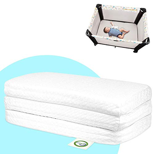Stock Your Home Pack and Play Mattress Trifold Portable Mini Crib Roll Up Playpen Mattress Pad with High Density Foam for Babies and Toddlers with Travel Tote - Hypoallergenic Travel Mattress (White)