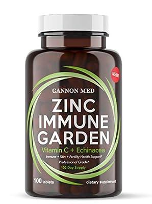 Zinc Immune Garden - Zinc 50mg | Vitamin C 800mg | Echinacea 600mg per Tablet - 100 Day Supply | Immunity + Skin + Reproductive Health Support | Vegan, USA MADE |Alternative to Lozenge Chewable Liquid