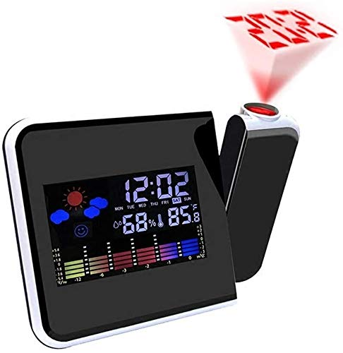Alarm Clock Fhw. Kreative LED Elektronische Wecker Wettervorhersage Wetterstation Zeitprojektion Multifunktionsdesign Snooze-Funktion (Color : Black)