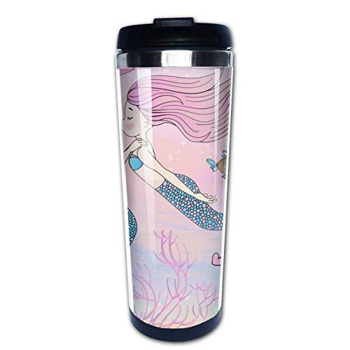 Felicidad sirena dibujos animados viajes imagen vectorial tropical café taza de viaje tazas de café con tapas taza de acero inoxidable para hombres mujeres
