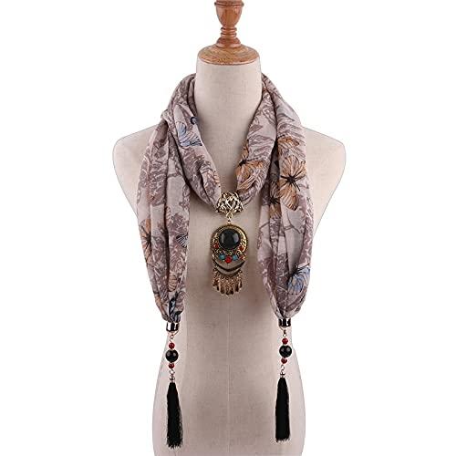 Vcnhln Bufanda con Colgante de Collar de algodón Puro, Bufanda Bohemia para Mujer, Bufanda Cuadrada, Accesorios para Mujer, pañuelo para la Cabeza