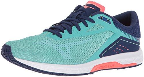 Mizuno Women's Wave Sonic Running Shoes, Turquoise/Yucca, 11 B US