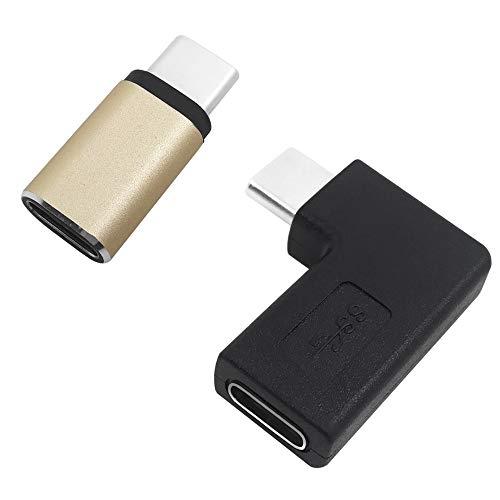 AFUNTA - Adattatore da USB tipo C maschio a femmina, 90 gradi di tipo C maschio a femmina e adattatore da USB C (maschio) a USB C (femmina) per laptop/tablet/cellulare