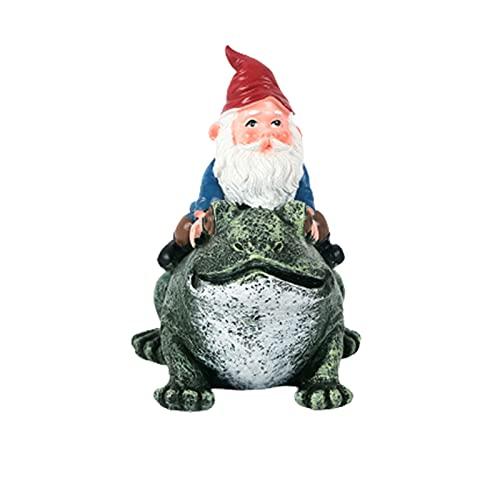 Tianqian Estatua de resina caprichosa viaja Mr Gnome en la rana gigante paseo escultura decorativa gnomo mágico para el césped de Yrad