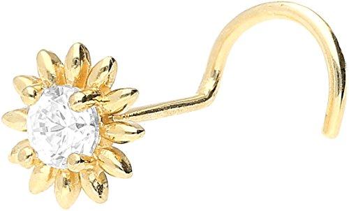 PIERCINGLINE 750er GOLD Nasenpiercing Spirale | 18 KARAT | BLUME | Piercing Nase Stecker | Farbauswahl