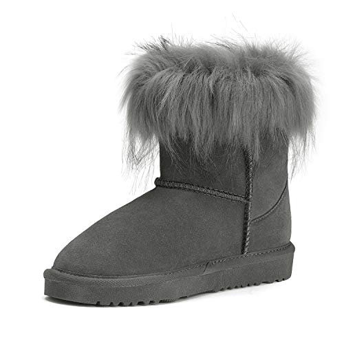 DREAM PAIRS Girls Faux Fur Lined Winter Ankle Snow Boots Grey Size 1 Little Kid Fluffy-k