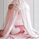 OldPAPA Baby Baldachin Betthimmel für Kinder Bett Hängende Moskitonetz für Schlafzimmer Ankleidezimmer Spiel Lesen Zeit Dekoration für Bett und Schlafzimmer Höhe 240cm(Rosa) - 4