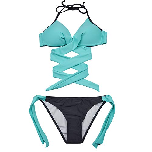 JFAN Traje De Baño Mujer Sexy Bañador de Baño Conjunto de Bikini Push up Sujetador Acolchado Traje de baño Bikini para Mujeres(Lago Azul,S)