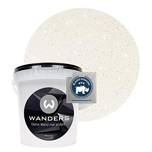 Wanders24® Glimmer-Optik (1 Liter, Silber-Weiß) Glitzer Wandfarbe - Wandfarbe Glitzer - abwaschbare Wandfarbe - Glitzerfarbe - Made in Germany