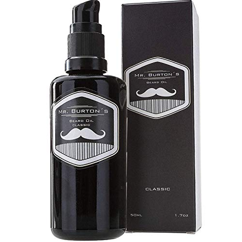 Bartöl - Mr. Burton´s Beard Oil - CLASSIC - unverwechselbarer Duft - PRODUKTSIEGER 2020 - Made in Germany - 50ml Bart Öl für die Bartpflege - mit Arganöl Tierversuchsfrei und vegan