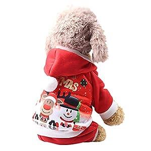 BulzEU Vêtements de Noël Chien/Chat, Manteau Rouge Motif Noël Chaud Hiver Habit Vêtements Les Petites Moyennes Chiens Chats