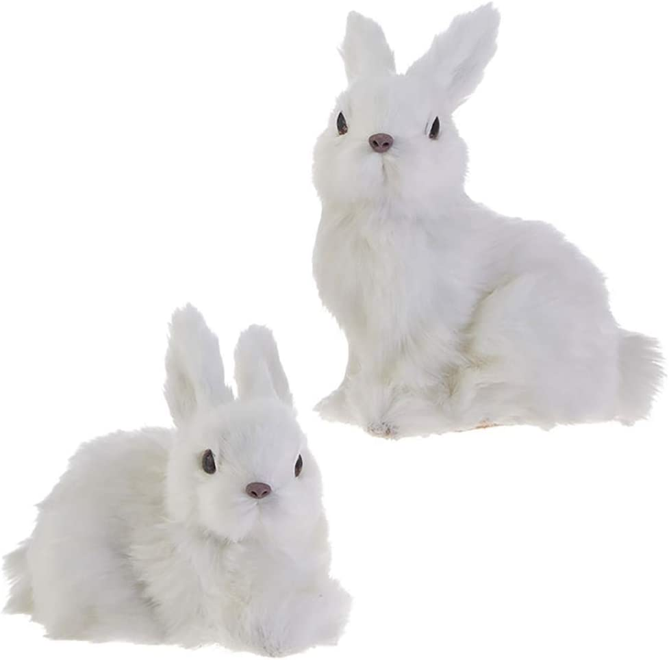 Amazon Com Raz Imports Bunny Rabbit Figurines Christmas Ornaments Set Of 2 Faux Fur Bunny Ornaments Home Kitchen