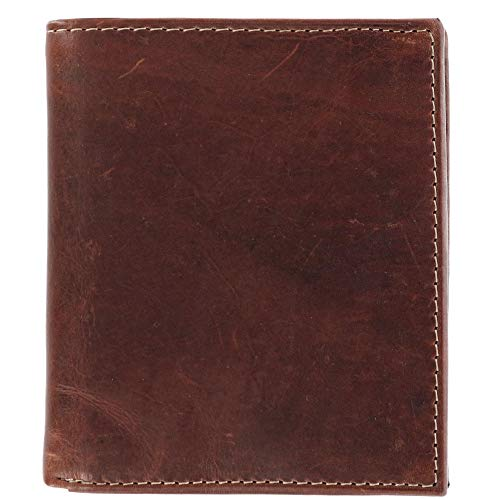 CTM Men's Oil Pull Up Leather Hipster Bifold Wallet, Brown