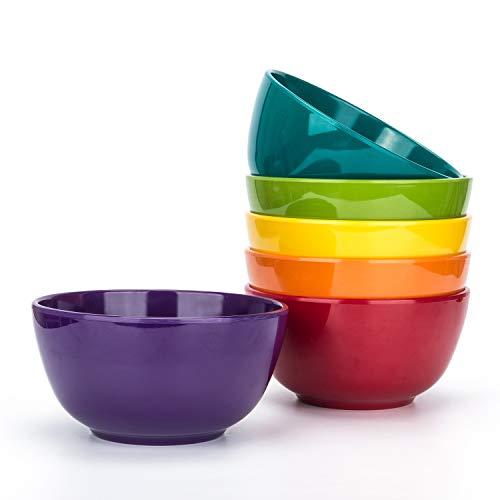 Melamine Bowls set - 28oz 6inch 100% Melamine Cereal/Soup/Salad Bowls, Set of 6 in 6 Assorted Colors...