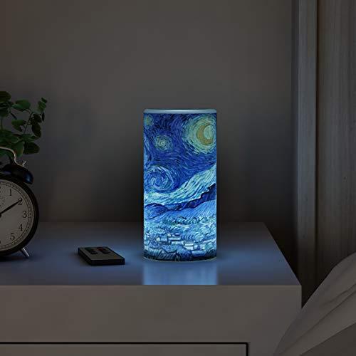 Lavish Home LED-Kerze mit Fernbedienung, Timer, Van Gogh-Kunst auf Vanilleduft, realistisches Flackern oder Dauerlicht, flammenloses Licht