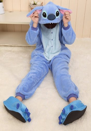 Win8Fong Kigurumi-Pyjama, Tier-Anime, Cosplay-Kostüm, unisex, Erwachsene, Halloweenparty, heiße Party, Einteiler, Schlafbekleidung, blaue Nähte, Blau