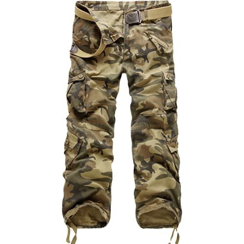 Corumly Pantalones Cargo para Hombre Four Seasons Multibolsillos (cinturón no Incluido) Pantalones de Cintura...