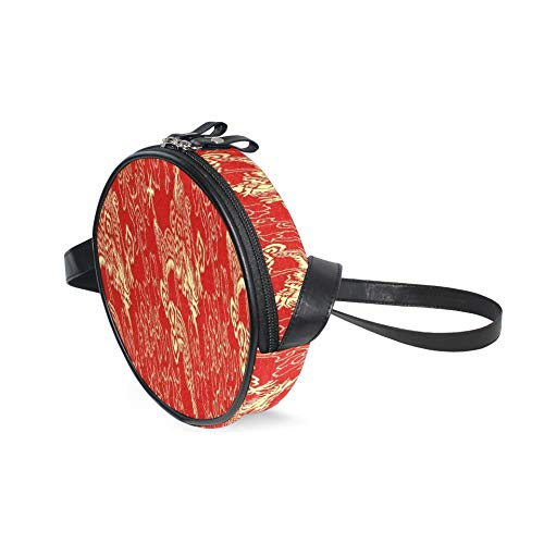 Messenger Crossbody Geldbörse Fragment aus roter chinesischer Seide mit goldenen Drachen Eine Mode Umhängetasche mit verstellbarem Schultergurt Fashion Circle Umhängetasche Leinwan