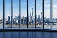 新しい5x3ftの街並みの背景モダンなオフィスビルズームコールのフレンチウィンドウ写真の背景ビジネスミーティング室内装飾写真撮影スタジオプロップビデオドレープ壁紙