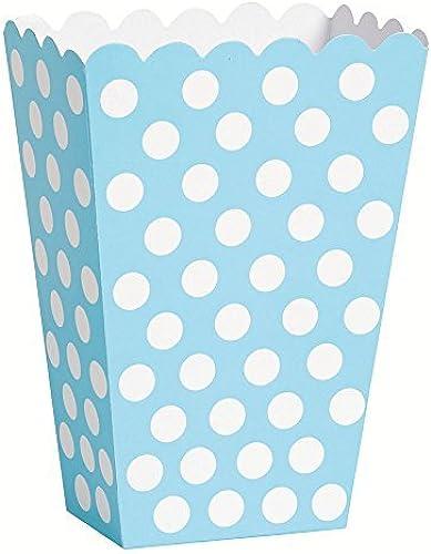 bleu Polka Dot Popcorn Treat Boxes by Unique Party