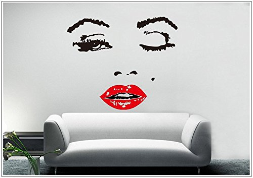 Deco-idea Wandtattoo wandaufkleber wandsticker Photo Porträt Marilyn Monroe wph006(Printed Sticker,ca.15 x 6cm)