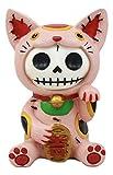 Ebros Furry Bones Pink Maneki Neko Skeleton Figurine Lucky Cat Kitten Hooded Skull Monster Collectible Sculpture Decorative Toy Furry Bones Skeletons Halloween Fortune