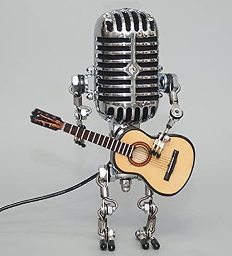 Lampada da scrivania robot microfono vintage - Lampada dimmer tattile robot,lampada da tavolo Steampunk con luce notturna robot industriale retrò per camere da letto bar ristorante (Senza lampadina)