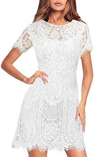 MSLG Teen Girl Dresses Formal Elegant Junior Short Sleeves V Back Floral Lace Wedding Party product image
