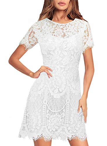 Floral Lace Dresses for Womens Petite Fall Casual to Wear to a Wedding Elegant Beautiful Knee V-Back Mini Cocktail Party Dress 910 (M, White)