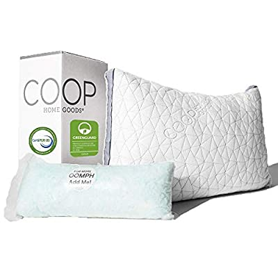 Coop Home Goods The New Eden Pillow - Ultra Tech Cover with Gusset - Adjustable Fill Features Cooling and Hypoallergenic Gel Infused Memory Foam with siliconized micfofiber Fill - Made in USA -