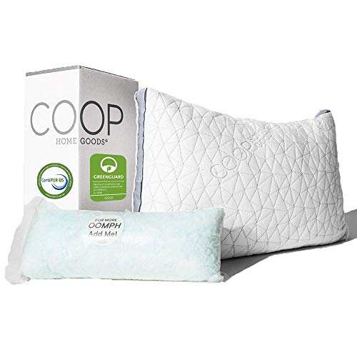 Coop Home Goods - Eden Adjustable Pillow - Hypoallergenic Shredded Memory Foam with Cooling Gel - Lulltra Washable Cover from Bamboo Derived Rayon - CertiPUR-US/GREENGUARD Gold Certified - Standard