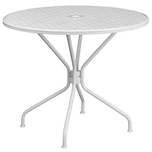 Flash Furniture 35.25'' Round White Indoor-Outdoor Steel...