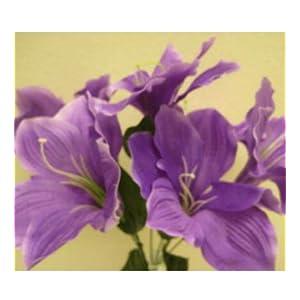 Artificial Silk Flowers Purple Amaryllis 16″ Bouquet Get 2 Bushes MG019