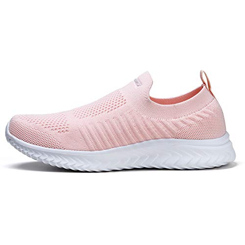 STQ Zapatos para caminar para mujer sin cordones en zapatillas casuales, color Rosa, talla 37 EU