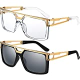 80s 90s Hip Hop Sunglasses Vintage Rapper DJ Glasses Hippie Glasses, Unisex (Black-dark grey, Clear)