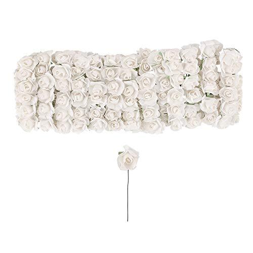 Kleine künstliche Rosen aus Papier   Deko-Blüten mit Draht-Stiel zum Befestigen   Rosenköpfe ca. Ø 1 cm   Kunstrosen, Deko-Rosen, Kunstblumen, Drahtblumen zum Basteln   144 Stück (weiß)