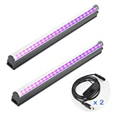 Black Light Bar 2 Pack, 10W 1ft USB Portable UV Led Blacklight Tube for Glow Party Supplies, Halloween Decorations, Urine Detection, Body Paint, Fluorescent Poster