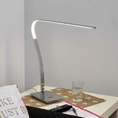 Lámpara de mesa LED grande, diseño cromado, para escritorio: Amazon.es: Iluminación