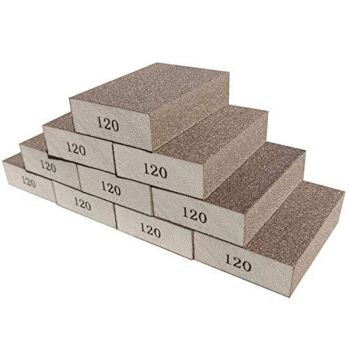 Sackorange 10 Pack 120 Grit Sanding Sponge, Washable and Reusable Sanding Blocks Great for Pot Brush Pan Brush Sponge Brush Glasses Sanding Wood Sanding Metal Sanding (120 Grit-10 Pack)