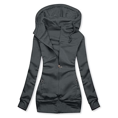 Abrigo Largo Mujer Negro Chaqueta Deporte Anorak con Capucha Jacket Softshell Rompeviento Moda con Lavado Ropa de Abrigo Softshell Parka Cuello Alto con Más Bolsillos Chaqueta Chaqueta de Verano