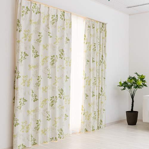 完全遮光 防音 デザイン 機能性オーダーカーテン「リール」グリーン 幅100cm 丈135cm 2枚組