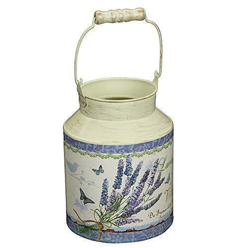 linoows Lavendel Milchkanne zum bepflanzen, Milch Kanne Metall im Retro Stil
