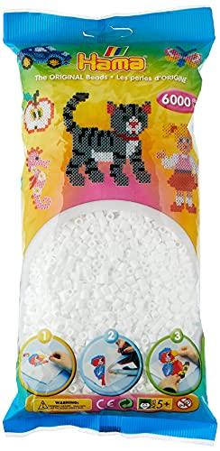 Hama - 205-01 - Hobby Creativo - Midi Beads Borsa 6000 - Bianco