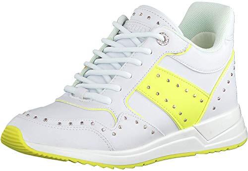 Guess Zapatillas deportivas bajas blancas para mujer, zapatillas de deporte, zapatillas de deporte, zapatillas de estar por casa, Wedge Rejjy, imitación de piel, talla 37 EU