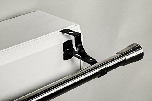 Geko Halterung ohne Bohren, für Gardinenstange, Durchmesser 20mm, speziell für Rolladenkasten, Farbe Schwarz