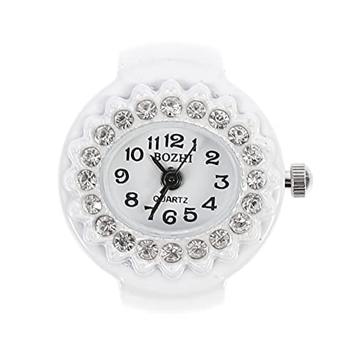 Hemobllo Finger Ring Watch Diamond Dial Quartz Ring Watch Jewelry Gift for Christmas Holiday