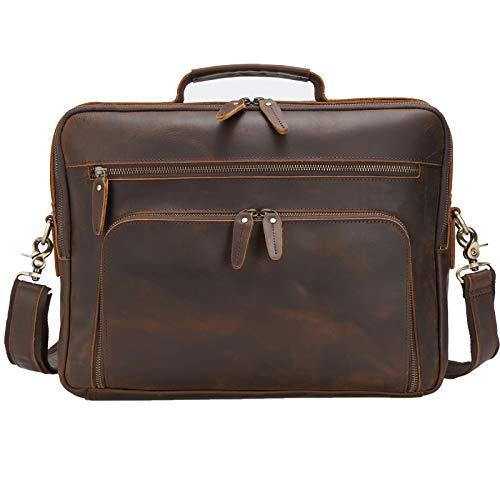 TIDING Leather Laptop Briefcase Men's Mesenger Bag 15.6 Inch Handmade...