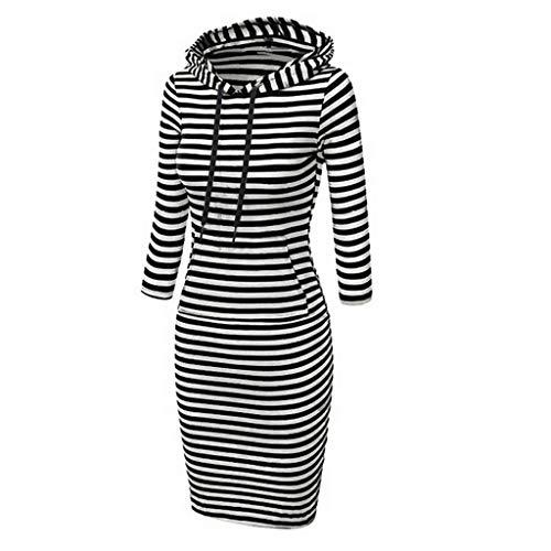 Janly Clearance Sale Vestido de mujer, vestido casual de rayas de manga larga con capucha bolsillos suéter vestido de sudadera (Negro-XXL)
